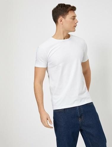 Koton Bisiklet Yaka Likrali Esnek Kumasli Süper Slim Fit T-Shirt Beyaz